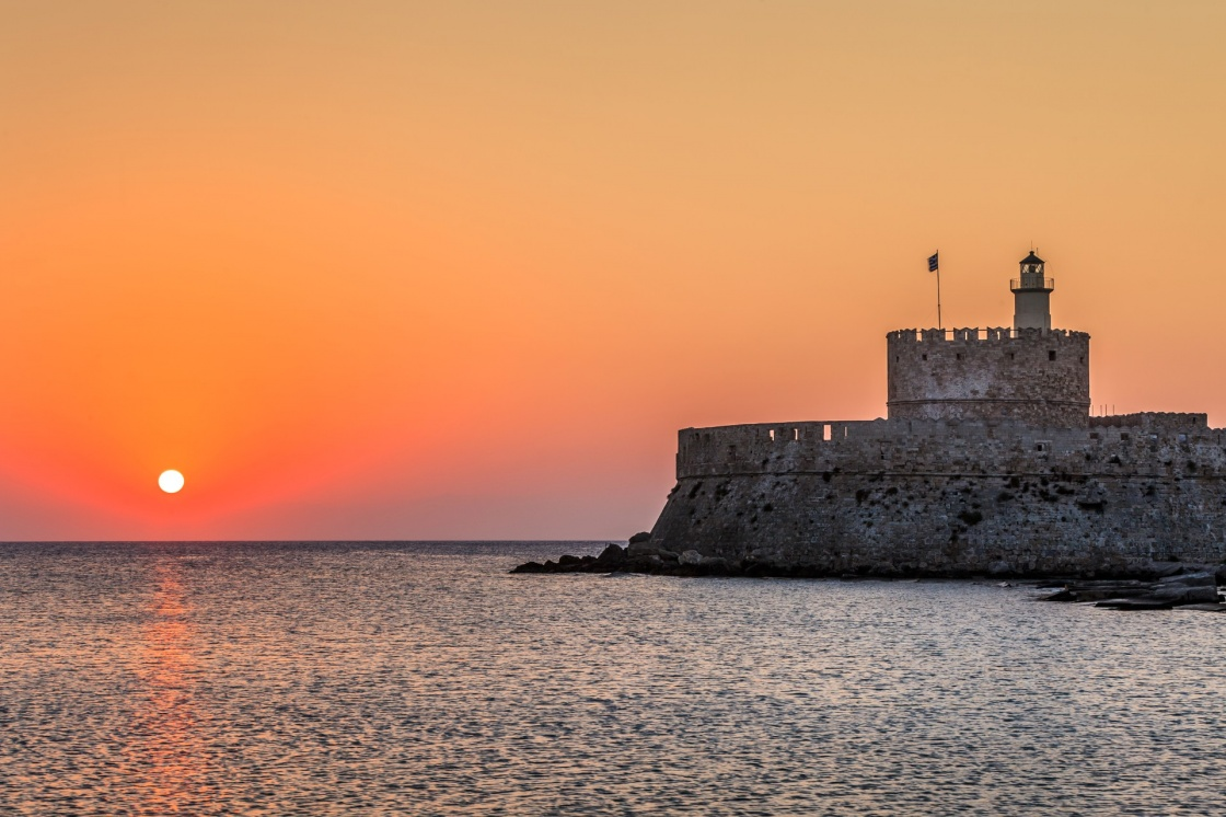 'Agios Nikolaos fortress on the Mandraki harbour of Rhodes, Greece ' - Rhodos